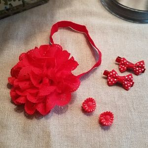 Other - NEW!  Adorable Headband & Hair Clip Set - Red